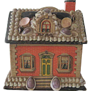 "Antique Shell Covered Miniature Dollhouse Toy Candy Container ""Alexandra Cottage"" c1900"