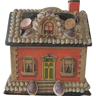 """Antique Shell Covered Miniature Dollhouse """"Alexandra Cottage"""" Toy Candy Container c1900"""