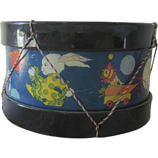 Vintage 1940's Child's Toy Lithographed Drum