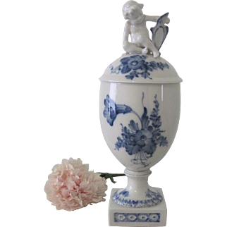 Vintage Royal Copenhagen Blue Flower Porcelain Urn/Vase Danish with Cherub