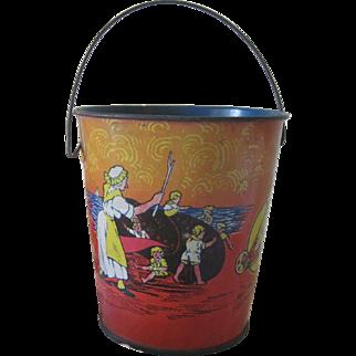Antique Children's/Dolls Toy Sand Pail Bucket Tin Litho C1915