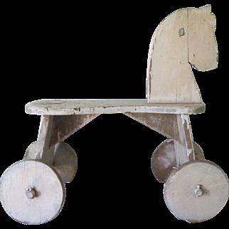 Vintage Swedish Child's/Doll's Riding Push Horse Toy Handmade Wooden c1930