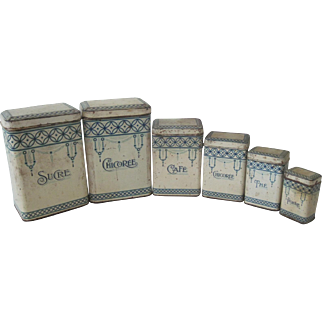 Vintage French Set of Six Metal Art Deco Kitchen Canisters c1920-30