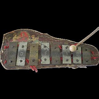 Old Schoenhut Children's Doll's Musical Toy Instrument Xylophone w/ Cherubs/ Angels c1900