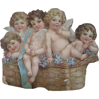Antique Victorian Large Advertising Die Cut for Jewelry Store with Cherubs/Angels