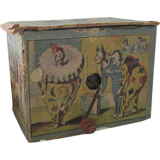 Old Children's / Doll's Toy Lithographed Hand Cranked Circus Music Box c1900