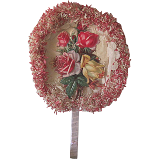 Vintage Souvenir Fan Rose Die Cut and Crepe Paper 4th of July Grants Pass, Oregon C1927
