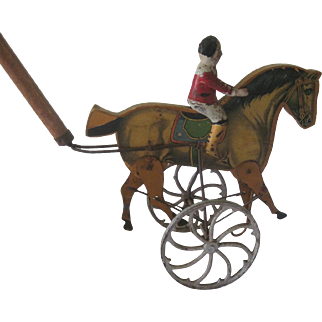 Antique Toy Push Horse Articulating Prancing Lithographed w/Cast Iron Wheels Doll Display c1900