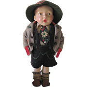 Vintage German/Bavarian Composition Boy Doll in Original Costume c1940's - 50's
