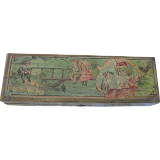 Old Victorian Child's Wooden Lithographed Pencil Box Toy Doll Accessory c1900
