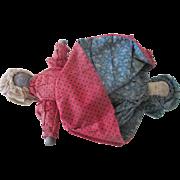 Antique 19th C Cloth Topsy Turvy Doll Primitive Folk Art Hand Made