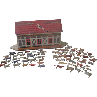 Antique German Noah's Ark Toy with 78 Hand Carved Animals Doll Accessory c1900