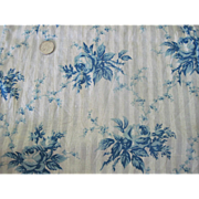 Old Cotton Floral Fabric Piece w/ Blue Roses c1870 Doll Clothing