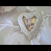 Old French Catholic Ex Voto Silk Sacred Heart Religious Reliquary Piece c1900