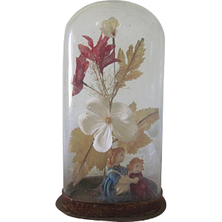 Antique Victorian Glass Dome with Decorative Miniature Wax Children Doll Figures and Flowers c1890