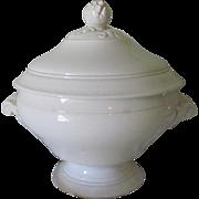 Antique French Sarreguemines Faience Soup Tureen Soupiere c1880