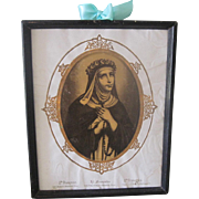 Old French Saint Francis Catholic Religious Framed Print Picture c1890