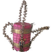 Antique German Victorian Pink Glass and Wire Wrapped Watering Can Christmas Ornament w/ Die Cut Decoration