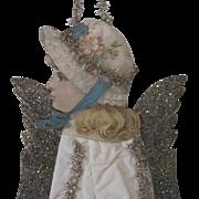 "Antique Victorian Scrap and Cotton Angel Christmas Ornament Decoration 17"""