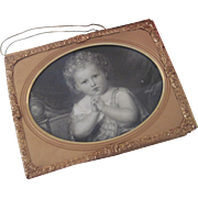 Antique Miniature English Doll Dollhouse Picture of Child in Ornate Gilt Frame