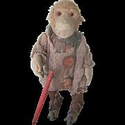 Rare Antique German Bing Clockwork Mechanical Roller Skating Monkey Doll Toy c1920