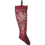 Antique Victorian Santa Claus Felt Christmas Stocking c1900