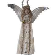 """Antique Victorian Scrap and Cotton Angel Christmas Ornament Decoration with Metallic Wings 12"""""""