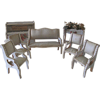 Antique French Miniature Dollhouse Parlor Suite Furniture Set of 8 c1890