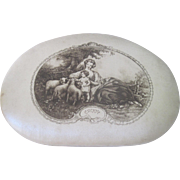Antique French Silk Chocolate Box for Baptism w/ Idyllic Rural Scene of Mother and Child w/ Celebration Menus c1910