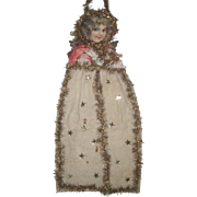 Large Antique Victorian Scrap and Cotton Angel Christmas Ornament Decoration 23""
