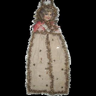 "Large Antique Victorian Scrap and Cotton Angel Christmas Ornament Decoration 23"""
