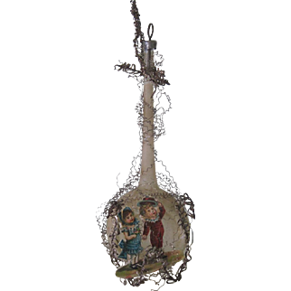 Antique Victorian German Glass, Die Cut and Wire Wrapped Christmas Ornament Decoration