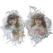 Antique Victorian Scrap and Crepe Paper Angel Christmas Ornaments