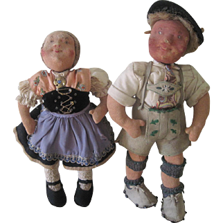 Vintage German Girl and Boy Cloth Character Doll Pair by Rausch c 1920