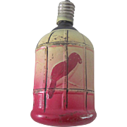 Vintage Glass Japanese Bird Cage Electric Christmas Light Decoration c1930