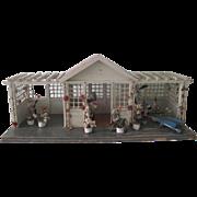 "Antique Gottschalk 26 1/2"" Dollhouse Gazebo Garden House C1900"