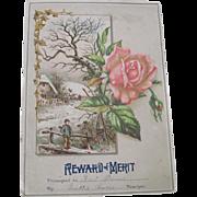 Old Victorian Decorative Reward of Merit Card Winter/Christmas Scene C1900