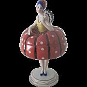 Vintage German Art Deco Flapper Porcelain Figural Powder Dresser Box Half Doll c1920