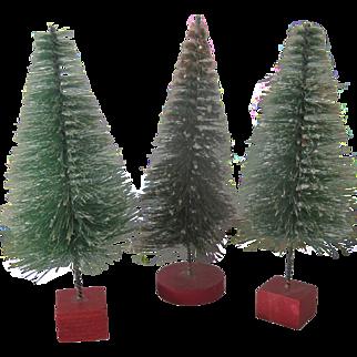 Set of Three Vintage Miniature Bottle Brush Christmas Tree Decorations