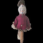 Antique Papier Mache Marotte Jester Doll Toy c1900