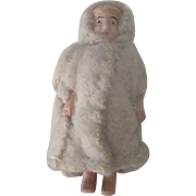 Old Miniature Celluloid Doll in Hooded Wool Winter Coat c1910
