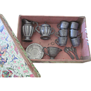 Old German Miniature Pewter Doll Tea Set in Original Chinoiserie Box C1900