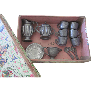 Antique German Miniature Pewter Doll Tea Set in Original Chinoiserie Box C1900