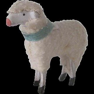 Vintage German Miniature Wooden Sheep Lamb Doll Accessory Christmas Ornament c1900