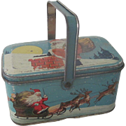Vintage Santa Claus Tin Litho Christmas Candy Tin Container Doll Accessory Decoration c1930