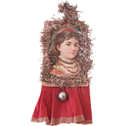 Old Victorian Scrap, Crepe and Tinsel Christmas Ornament Decoration with Lady