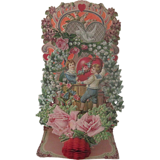 Old Victorian Ornate Embossed Die Cut Fold Out Valentine Card W/Roses and Garlands