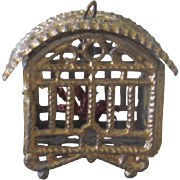 Antique German Miniature Dollhouse Pewter Bird Cage with Gold Finish