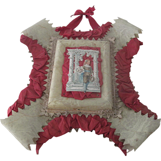 Large Antique Victorian Ornate Valentines Card Picture with Satin and Lace Embellishments