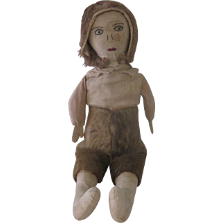 Antique Primitive Handmade Cloth Rag Doll